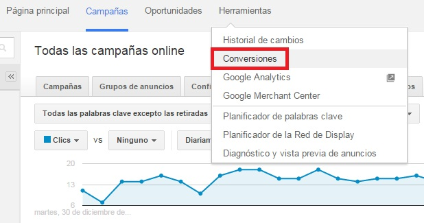 conversiones en google adwords