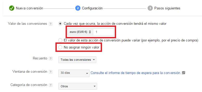 valor de las conversiones adwords