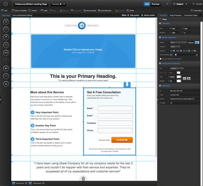 herramienta para crear landing page, unbounce
