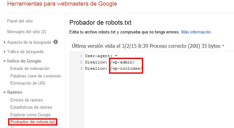 Probar robots.txt Webmasters Google