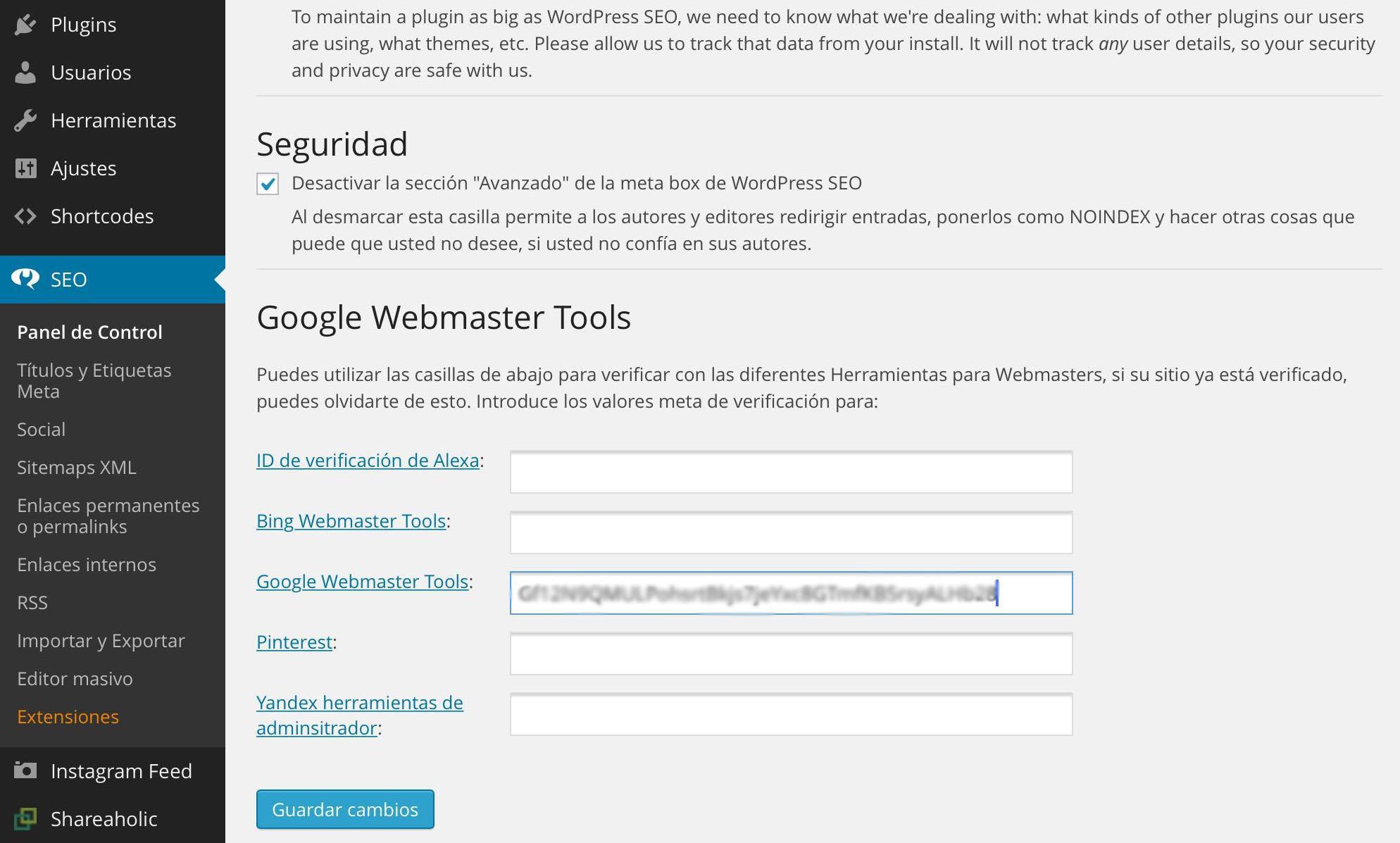Verificar web con WordPress SEO by Yoast