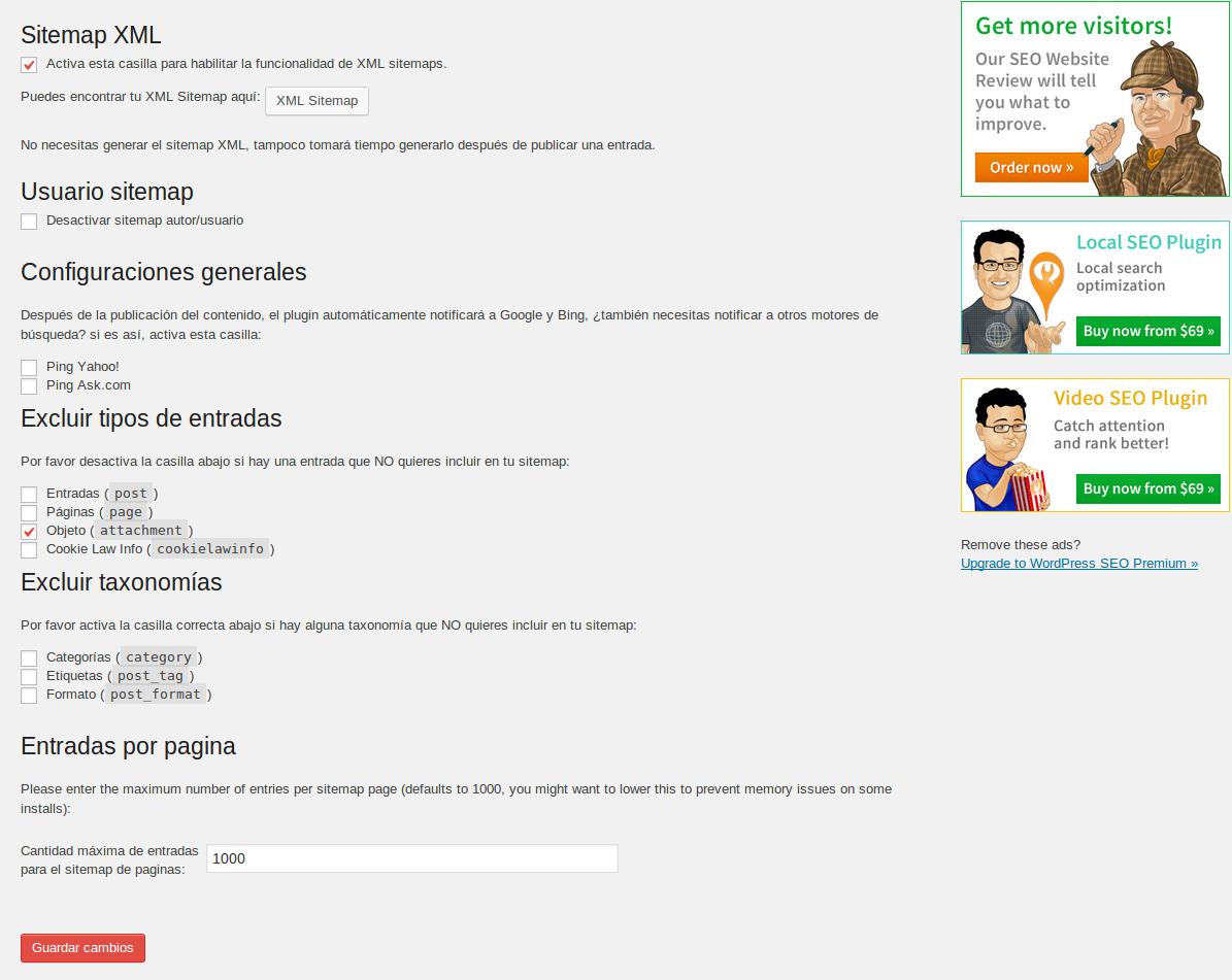 crear Sitemap plugin WordPress SEO by Yoast