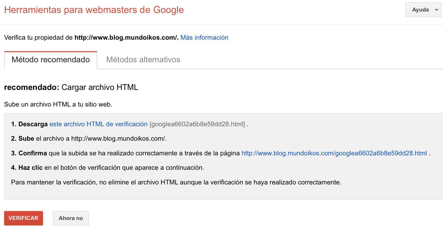 verificar dominio en webmasters de google