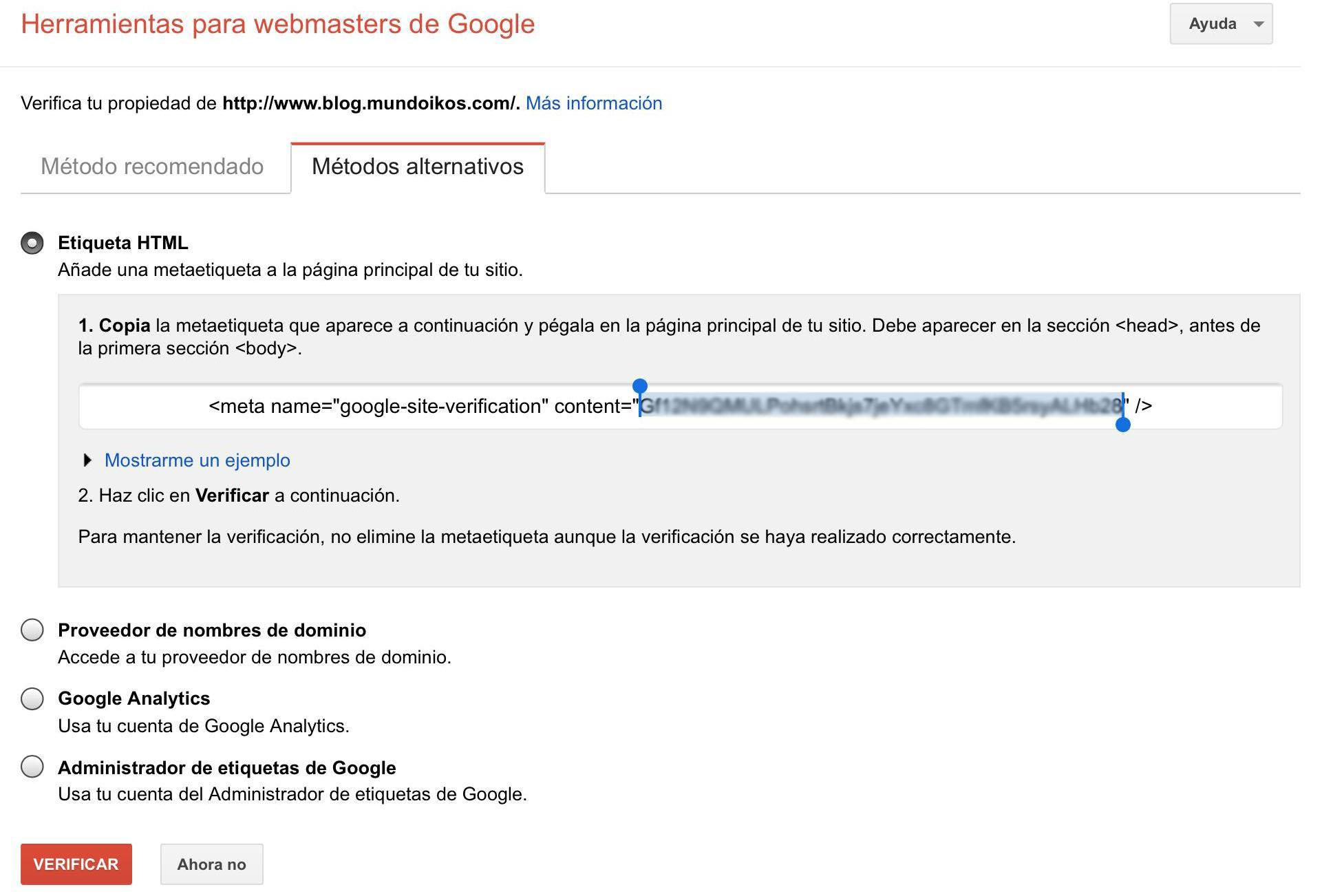 verificar dominio webmasters metaetiqueta