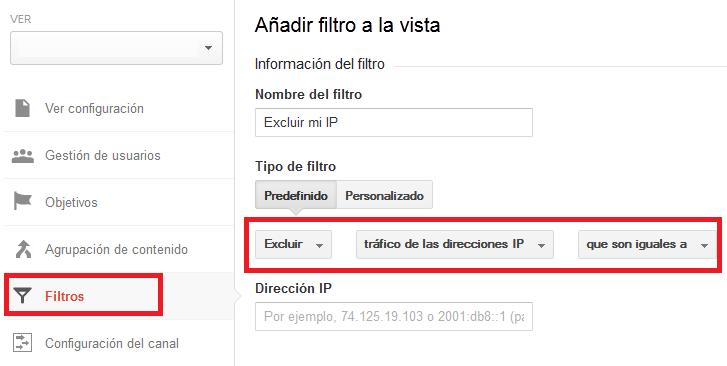 Cómo excluir la IP del tráfico web