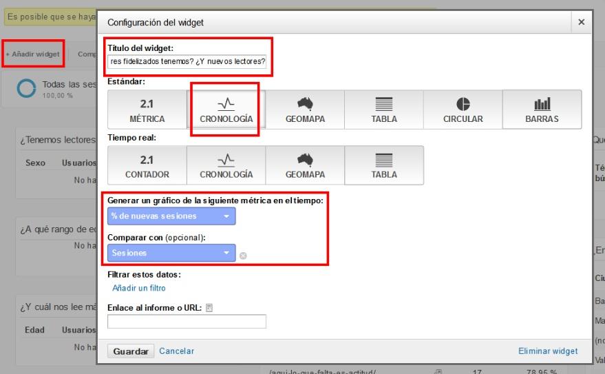 Configuracion widget de lectores fidelizados y nuevos