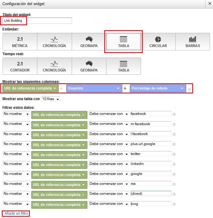 Configuración widget de webs que nos mencionan