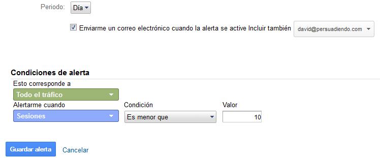 Configurando alerta en Google Analytics