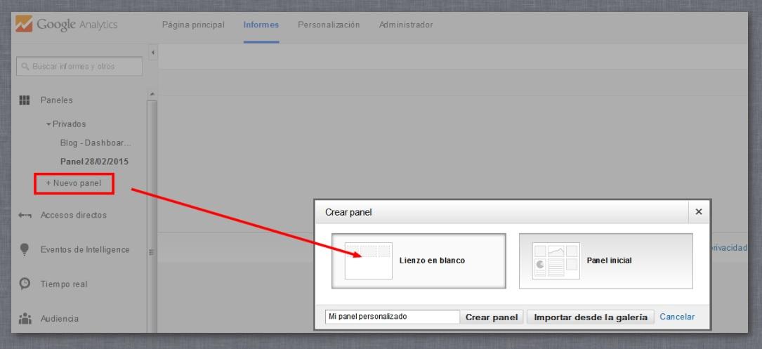 crear un dashboard personalizado en Google Analytics