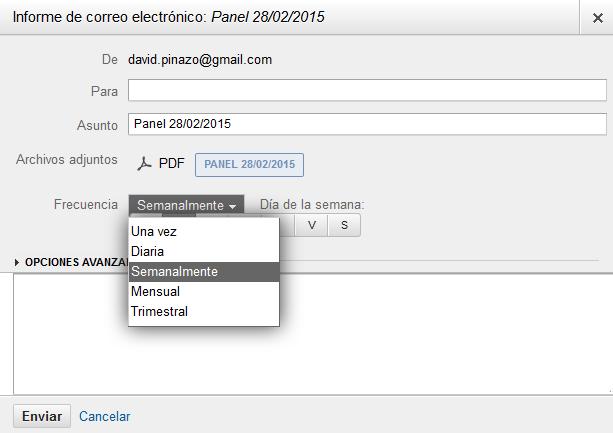 Configurando el informe al correo electrónico en Google Analytics