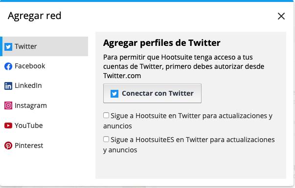 Diferentes redes sociales que se pueden añadir en Hootsuite