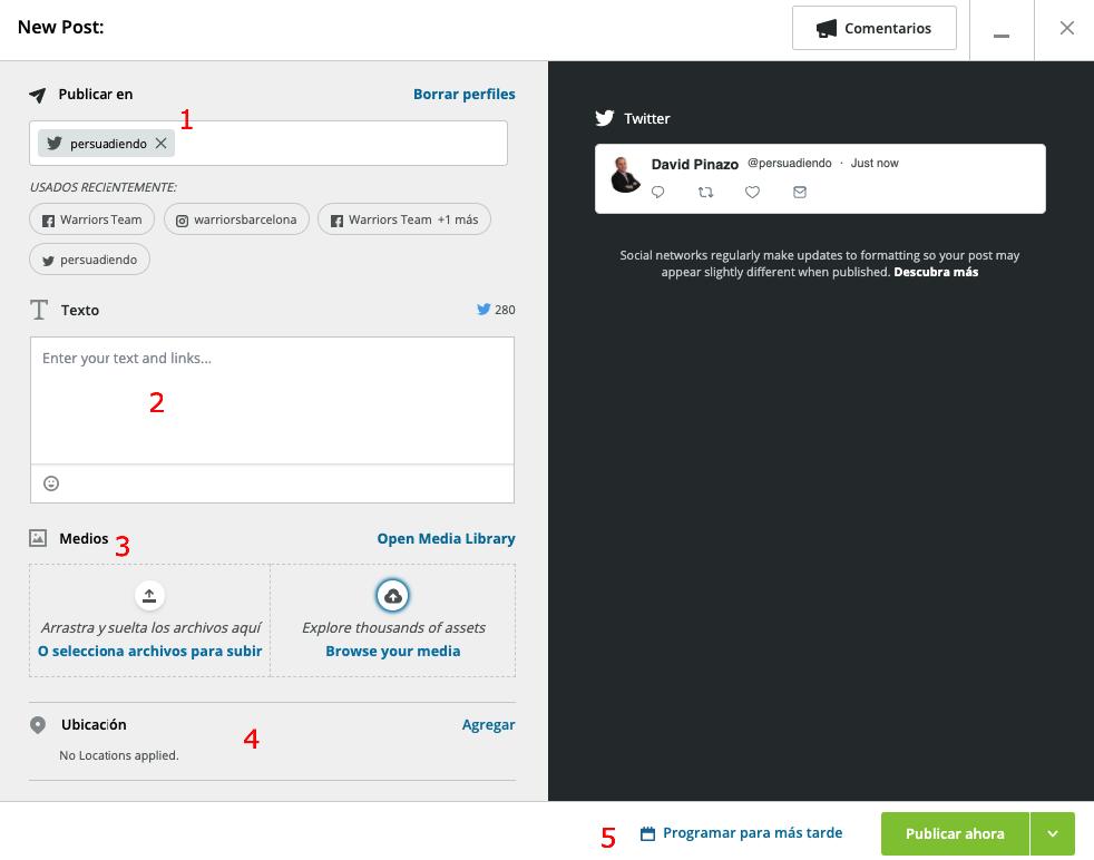 Cómo publicar mensajes en Hootsuite
