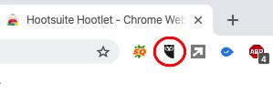 Extensión Hootsuite Hootlet instalada en un navegador Google Chrome