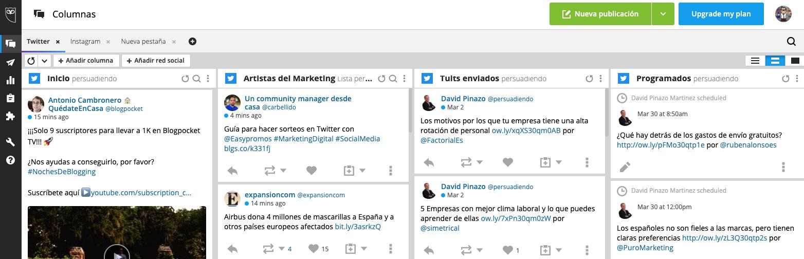Panel de Hootsuite con 4 columnas personalizadas de Twitter
