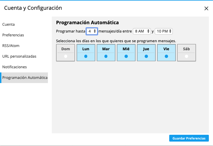 Configuración de programación automática en Hootsuite