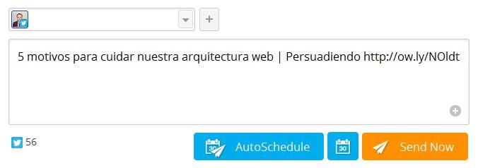 Programando un tuit desde Hootsuite Hootlet