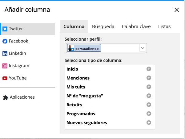 Tipos de columnas a añadir para Twitter en Hootsuite