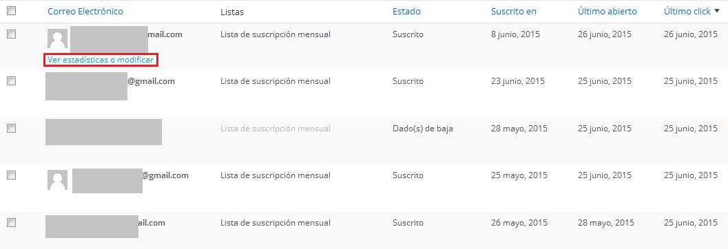 Estadísticas MailPoet: listas suscritos, ratios aperturas, clicks