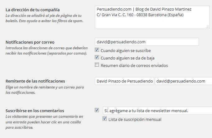 Ajustes básicos Plugin MailPoet Newsletters