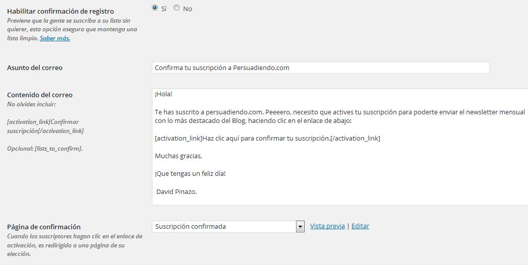 Ajustes confirmación de registro al boletín; plugin: MailPoet Newsletters