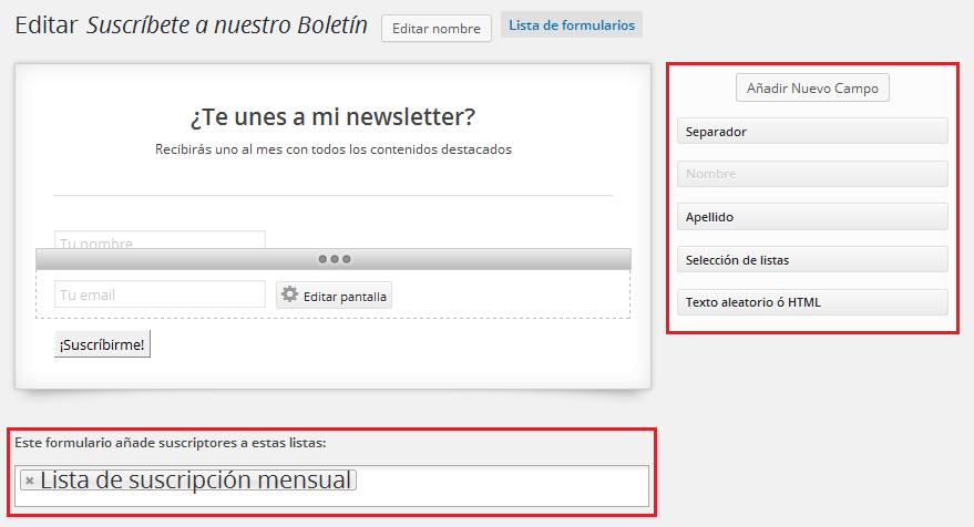 Cómo crear un formulario para la suscripción a un blog; Plugin MailPoet Newsletters
