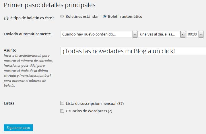 Configuración del envío del boletín con MailPoet