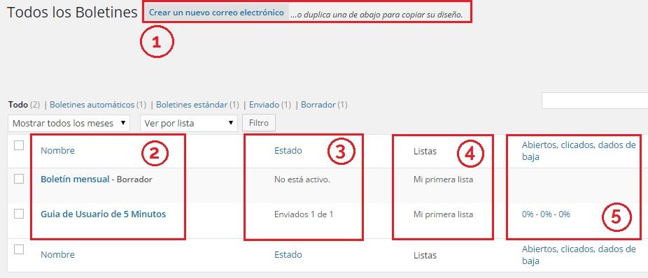 Configurar boletines con Mailpoet Newsletters