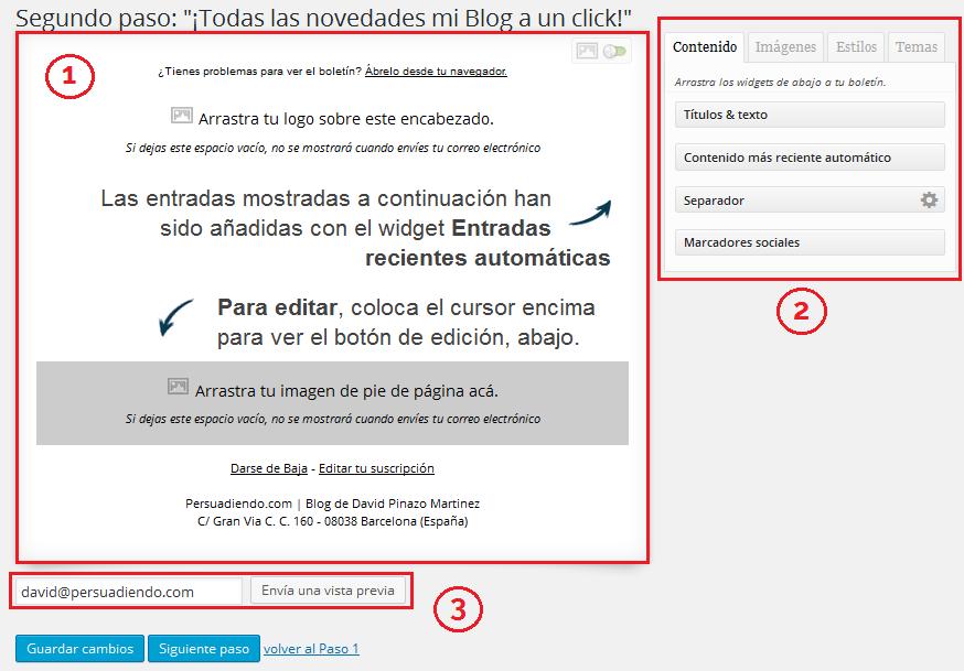 Editor del boletín con el plugin MailPoet