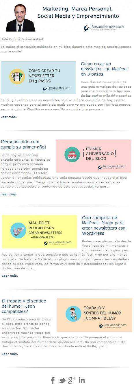 Ejemplo Newsletter Persuadiendo MailPoet