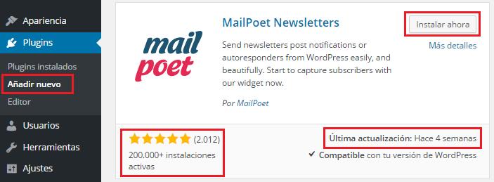 Instalación del plugin para newsletter MailPoet