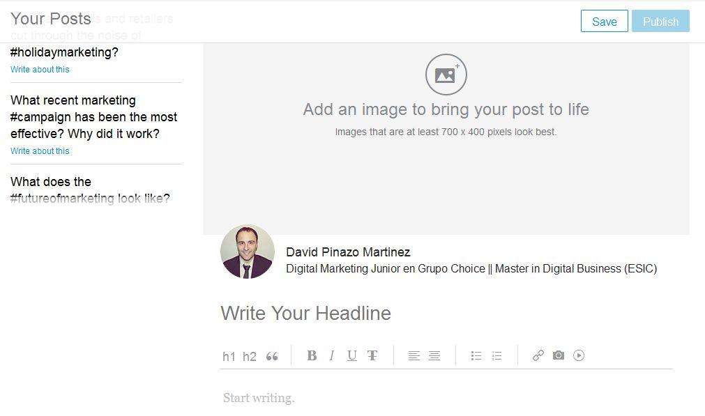 Cómo escribir una entrada en la plataforma PULSE de LinkedIn