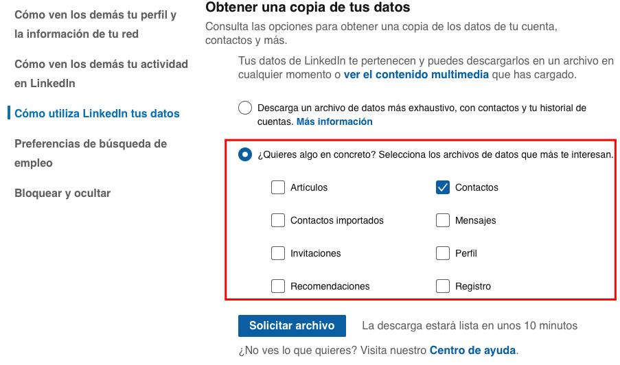 Cómo exportar copia de mis contactos de LinkedIn