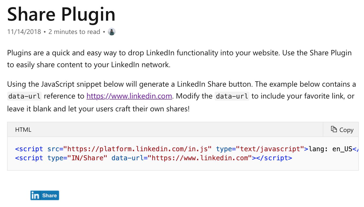 Cómo generar botón 'share' de LinkedIn para mi web