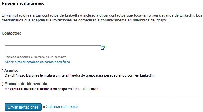 Enviar invitaciones a miembros para unirse al grupo de LinkedIn