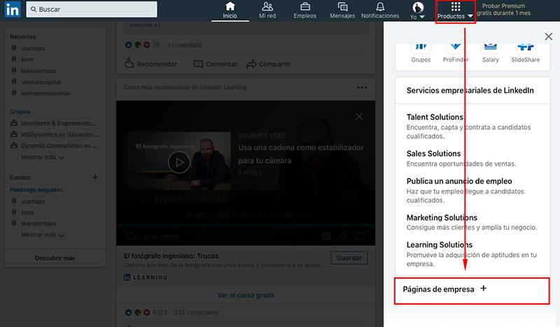 Cómo crear una página de empresa en LinkedIn
