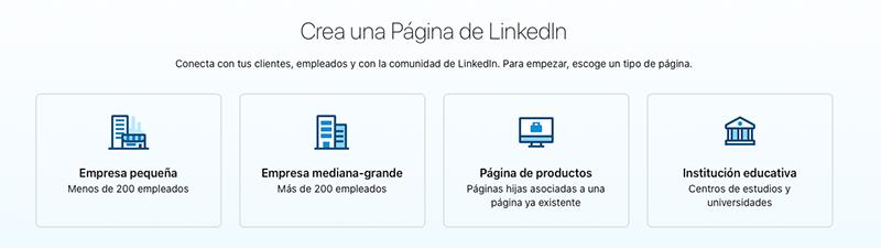Tipos de página de empresa en LinkedIn