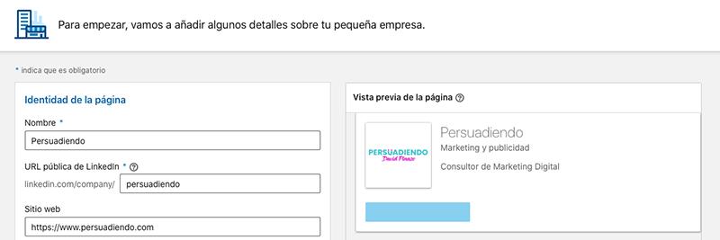 Creando página de empresa en LinkedIn