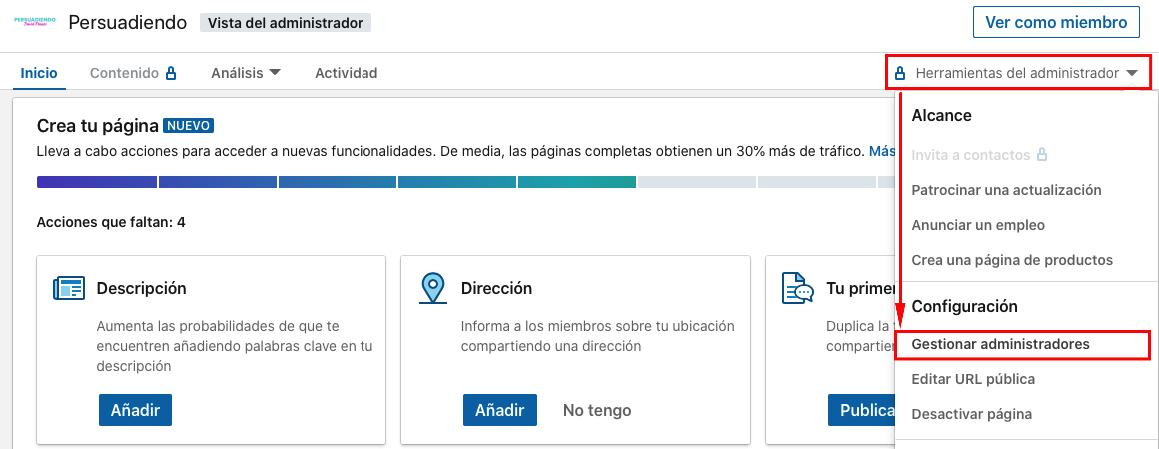 Gestión de administradores en una página de empresa de LinkedIn