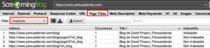 Detectar contenido duplicado en web con Screaming Frog