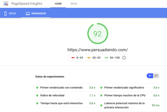 Test de velocidad web con PageSpeed Insights