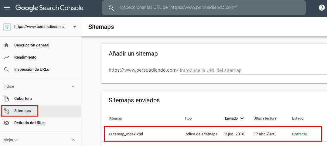 Sitemap verificado con Google Search Console