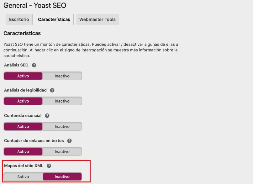Crear sitemap con Yoast SEO