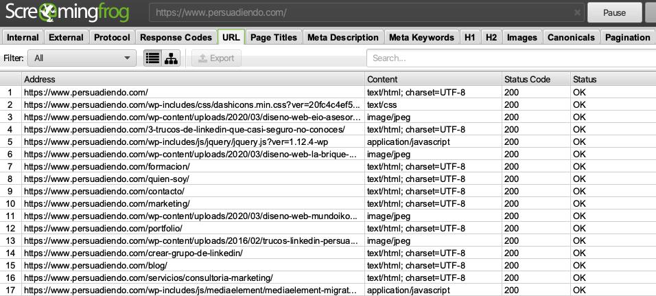 Cómo exportar las URLS de nuestra web
