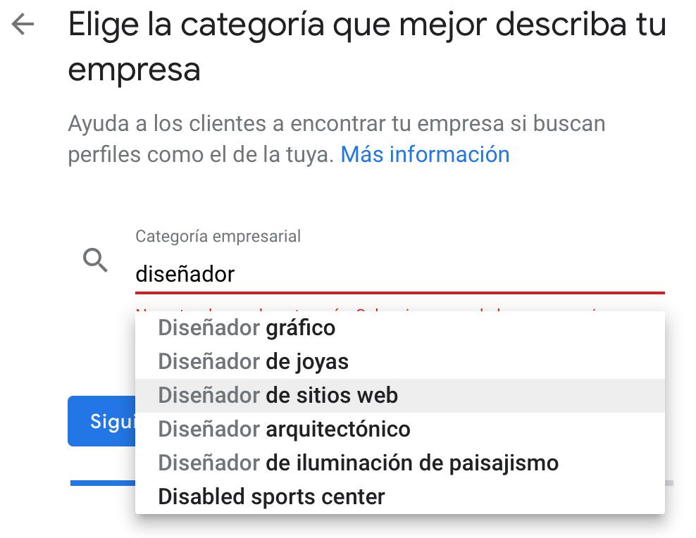 Categoría empresarial en Google My Business