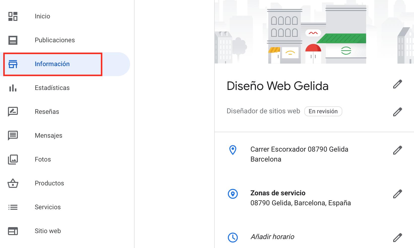 Información de nuestra ficha de Google My Business