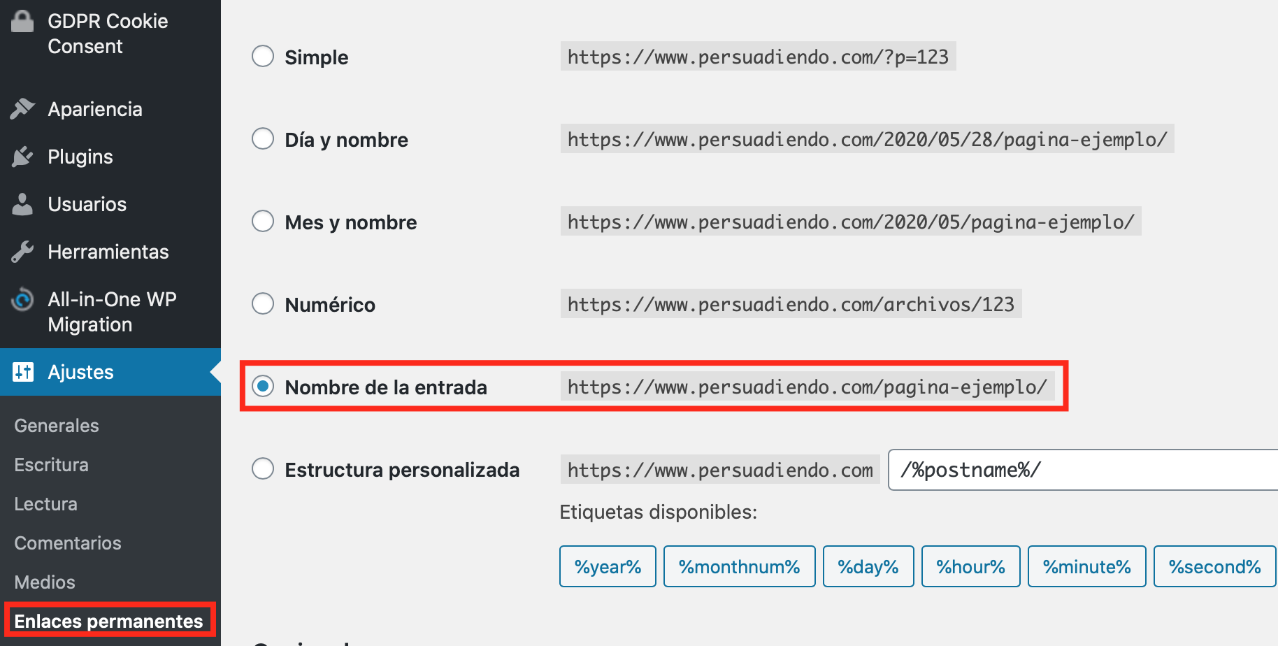 Configuración de URLs amigables en WordPress