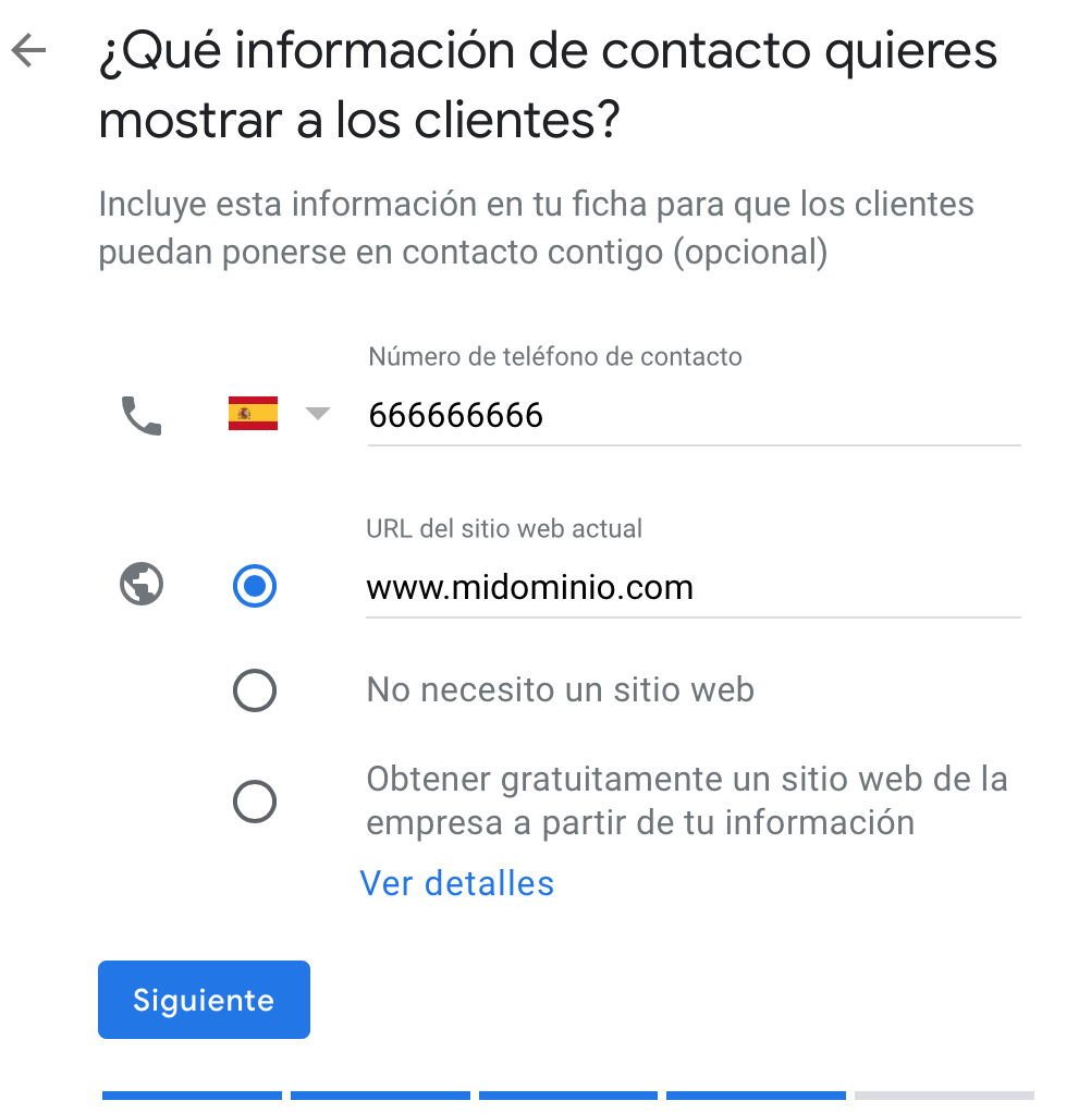 Información de contacto en Google My Business