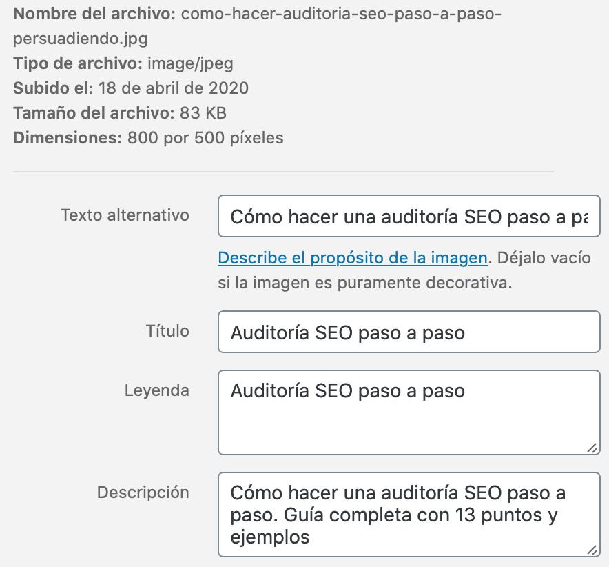 Optimización SEO de imágenes en WordPress