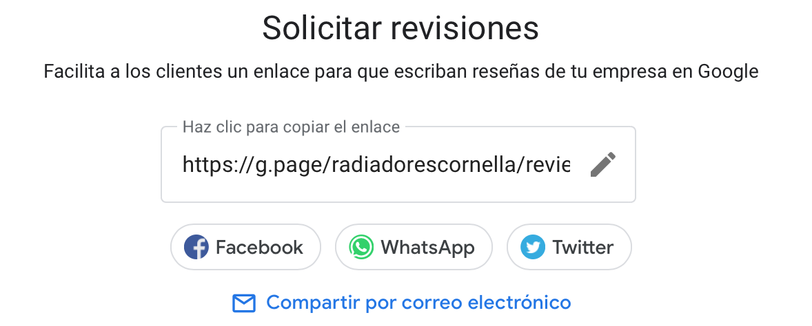 Enlace para solicitar reseñas en Google My Business