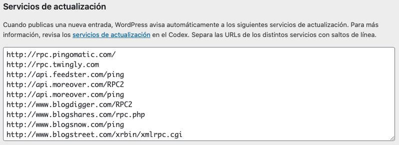 Servicios de actualización de contenidos de WordPress